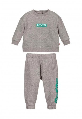 Levis Baby Logo Crew Neck Sweater and Jogger Set, Grey
