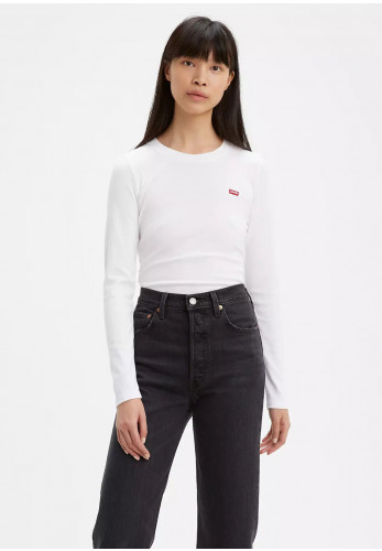 Levis® Womens Long Sleeve Baby Tee, White Neutral 0000
