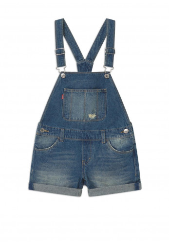 Levis Girls Denim Short Dungarees, Light Blue