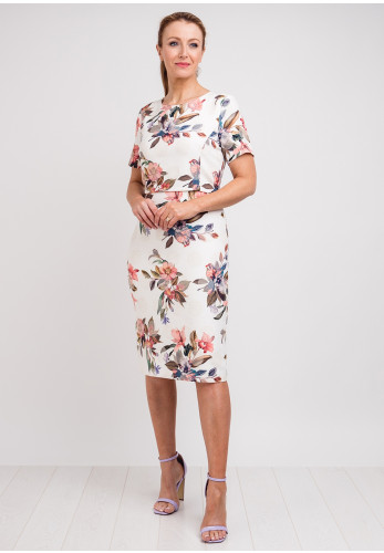 Libra Floral Print Overlay Pencil Dress, Cream Multi