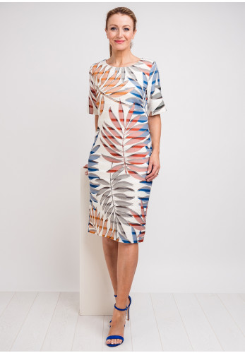 Libra Leaf Print Pencil Dress, Multi-Coloured