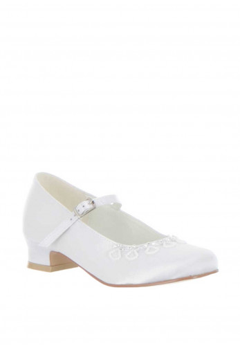 Little People Satin Beaded Embellished Communion Shoes, White