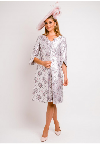 Lizabella Floral Metallic Dress and Jacket, Pink
