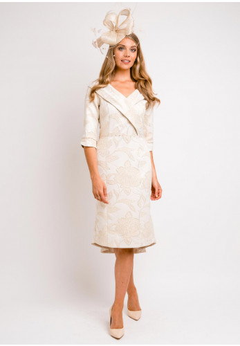 Lizabella Shawl Collar Jacquard Dipped Hem Dress, Gold