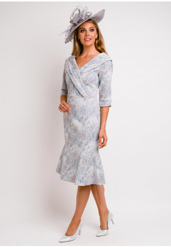 Lizabella Shawl Collar Jacquard Peplum Trim Dress, Blue