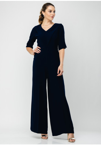Lizabella V-Neck Wide Leg Jumpsuit, Navy