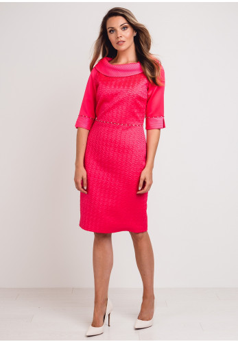 Lizabella Textured Satin Pencil Dress, Hot Pink