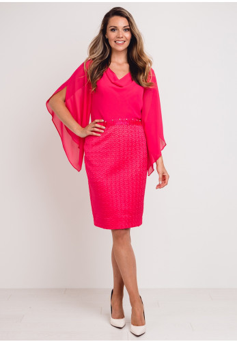 Lizabella Chiffon Bodice Textured Satin Dress, Hot Pink