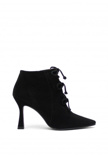 Lodi Leather Open Front Bow Heel Ankle Boots, Black