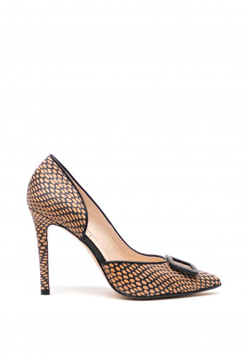 Lodi Leather Open Side High Heel Pointed Shoes, Black and Taupe