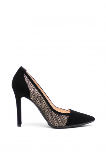 Lodi Leather Bronze Shimmer High Heel Pointed Shoes, Black