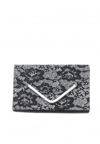 Lotus Epona Glitter Envelope Clutch Bag, Black