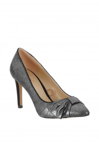 Lotus Minango Metallic Bow Court Shoes, Pewter