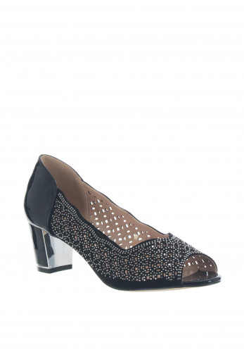 Lotus Attica Embellished Peep Toe Shoes, Black