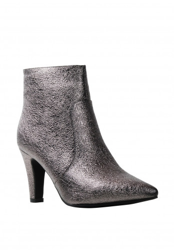 Lunar Metallic Heeled Boots, Pewter