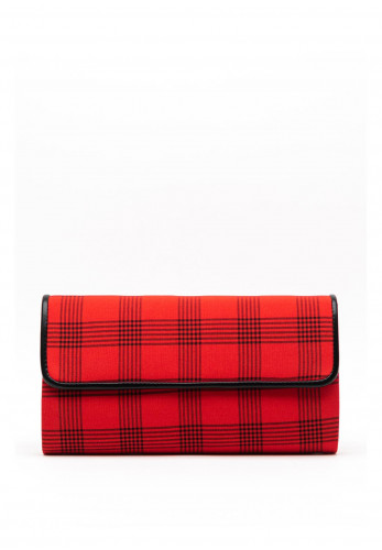 Lunar Sheena Checked Clutch Bag, Red