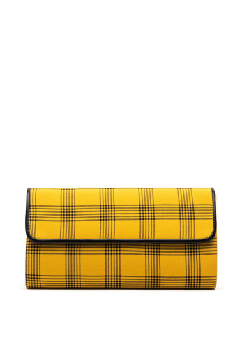 Lunar Sheena Checked Clutch Bag, Yellow