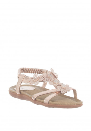 Lunar Girls Flower Strappy Sandals, Rose Gold