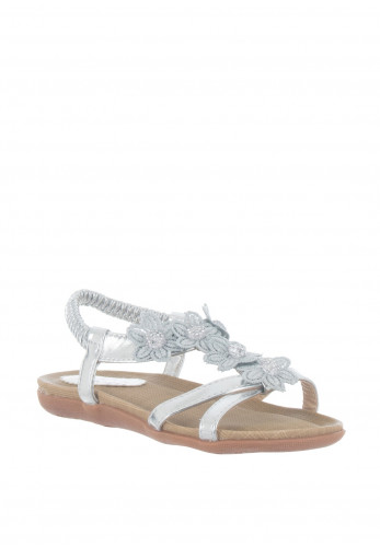 Lunar Girls Flower Strappy Sandals, Silver