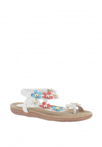 Lunar Daisy Embellished Sandals, White