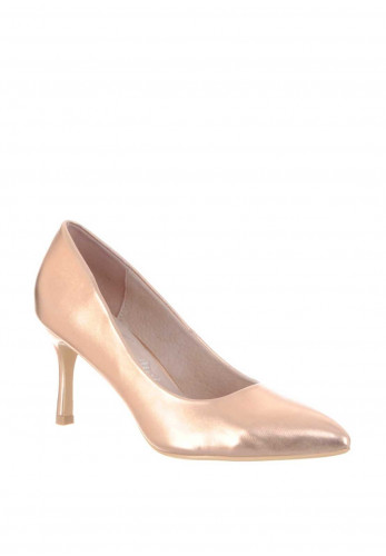 Lunar Metallic Pointed Toe Low Heeled Shoes, Rose Gold