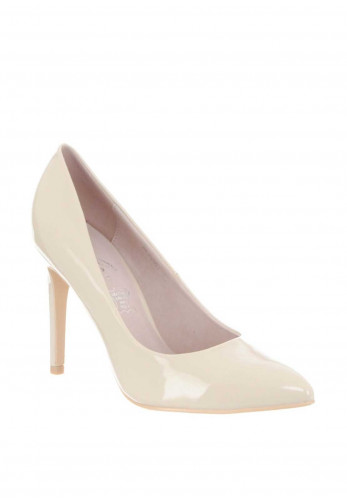 Lunar Patent Pointed Toe Heeled Shoes, Beige