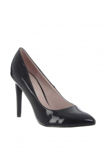 Lunar Patent Pointed Toe Heeled Shoes, Black