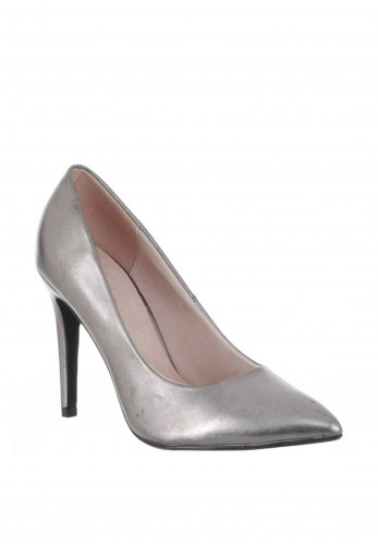 Lunar Metallic Pointed Toe Heeled Shoes, Pewter