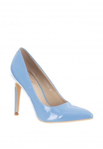 Lunar Patent Pointed Toe Heeled Shoes, Blue