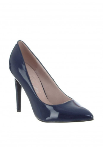 Lunar Patent Pointed Toe Heeled Shoes, Navy