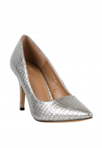 Lunar Patent Croc Print Pointed Toe Shoes, Pewter