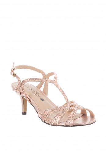 Lunar Francie Wide Fit Gem Heeled Sandals, Rose Gold