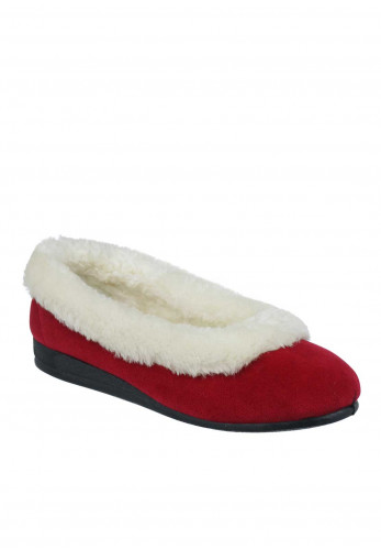Lunar Womens Bess Faux Fur Trim Slippers, Red