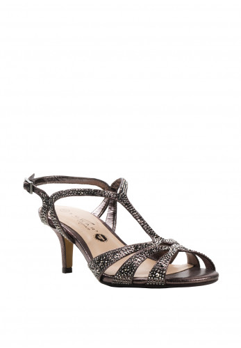 Lunar Francie Wide Fit Gem Heeled Sandals, Pewter