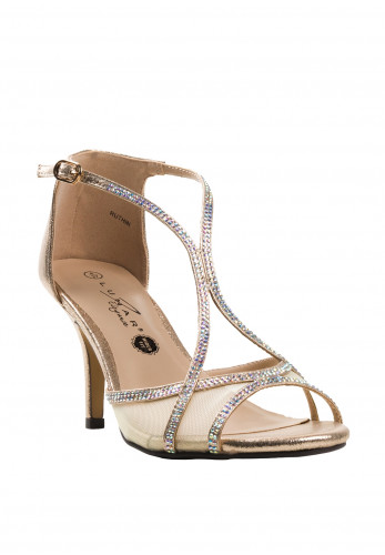 Lunar Ruthin Wide Fit Gem Heeled Sandals, Gold