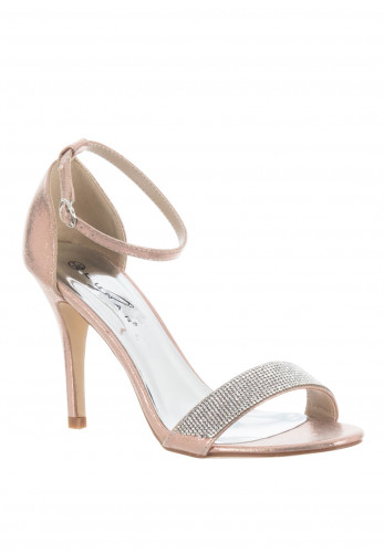 Lunar Rosalie Stiletto Gem Heeled Sandals, Rose Gold