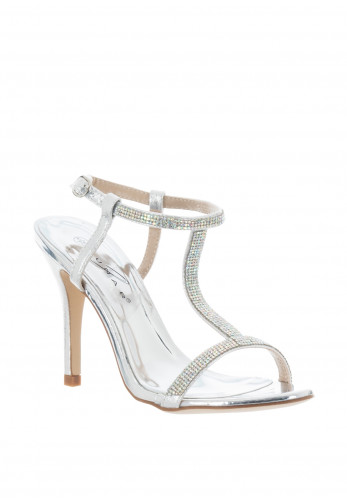 Lunar Potter Strappy Gem Heeled Sandals, Silver