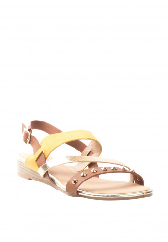 Lunar Jilly Gold Studded Strappy Sandals, Yellow