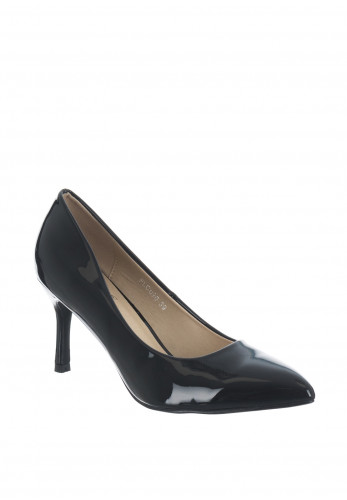 Lunar Patent Pointed Toe Mid Heel Shoes, Black