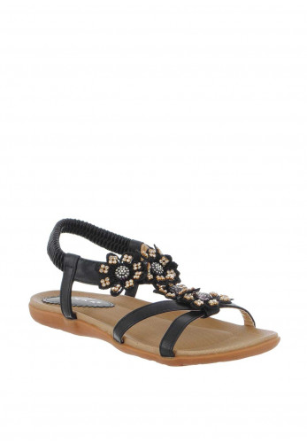 Lunar Fiji Embellished Flower Sandals, Black