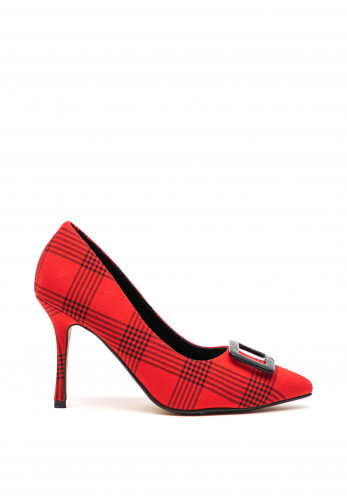 Lunar Sheena Checked Court Heel Shoes, Red