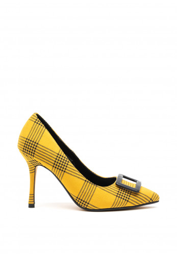 Lunar Sheena Checked Court Heel Shoes, Yellow
