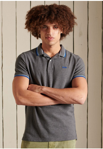 Superdry Tipped Polo Shirt, Rich Charcoal