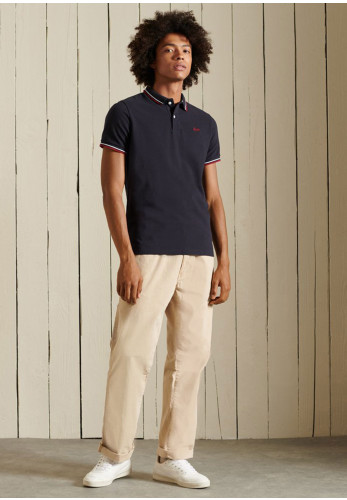 Superdry Tipped Polo Shirt, Dark Navy