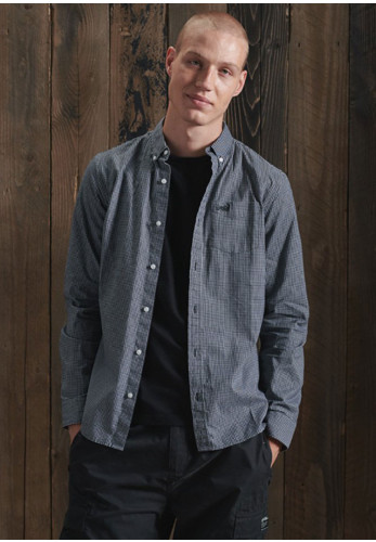 Superdry Classic University Shirt, Inverse Gingham Black