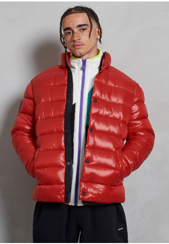 Superdry High Shine Quilted Puffer Jacket, Rouge Red