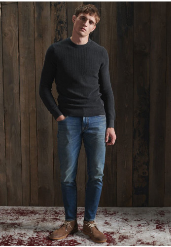 Superdry Academy Dyed Texture Crew Neck Sweater, Washed Carbon Black
