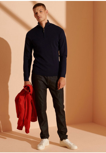 Superdry Merino Henley Jumper, Carbon Navy