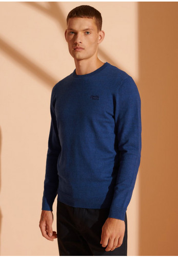Superdry Orange Label Cotton Crew Neck Sweater, Bright Marine