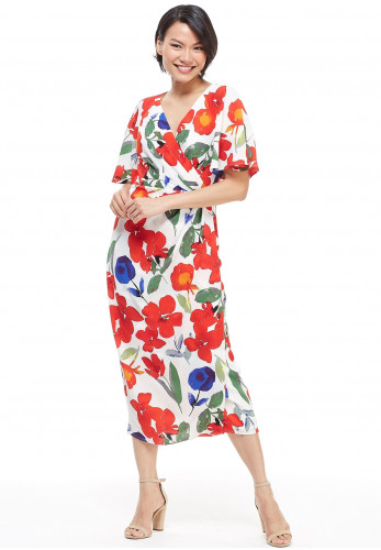 Maggy London Sonny Floral Wrap Dress, Multi
